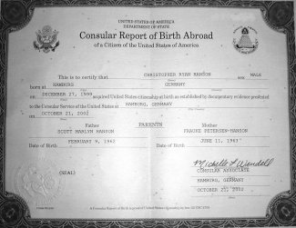 Christopher's 'Consular Report of Birth'